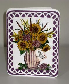 Sunflowers in Vase:  stamp then die cut