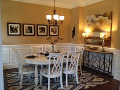 Dining room. White furniture