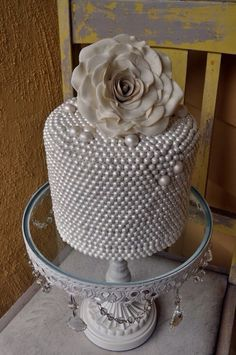 Pearls on a cake. Beautiful and delicious.