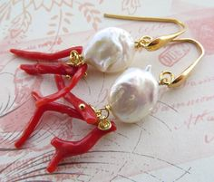 Red coral earrings baroque pearl earrings italian by Sofiasbijoux
