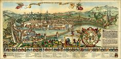 Early Century copy of Martinus Martini's spectacular view of Lucerne, meticulously colored by hand in the style of the period. Paris Skyline, Fair Grounds, How To Plan, Martini, Maps, Copper, Travel, Lucerne, Environment
