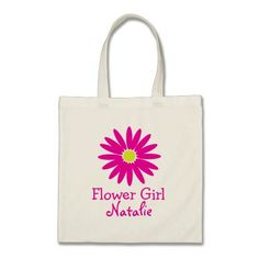 Dark Pink Daisy with Customizable Text Bags