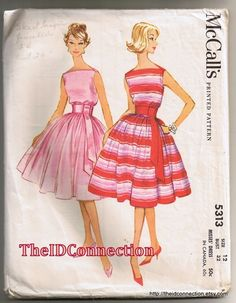 1960 McCalls Dress Pattern, Printed Pattern, Full Skirt Style, Pattern 5313 Size 12 Bust 32 Sleeveless Miss Dress, Perfect Dress for Prom, Homecoming, Dance, Formal Event, Betty Paige