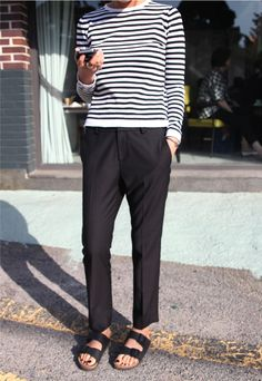 stripes + slacks + birks // la mariniere