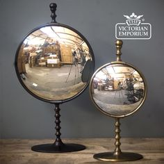 These Convex Mirrors on a Stand would work well in any decor style.