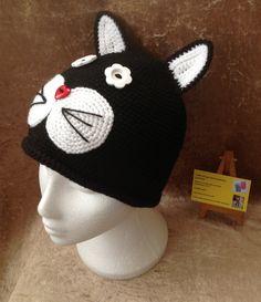 Black cat crochet hat handmade animal hat by kingsnqueenscrochet
