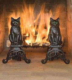 Cat Andirons for Pittock Mansion fireplace display I bought some at a yard sale a few years ago..