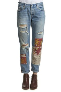 jeans levi-s 501 customized tapered desperado patch bleu clair femme tapered jeans femme