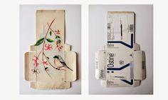 Sara Landeta intervino con ilustraciones de aves algunas cajas de medicamentos usados