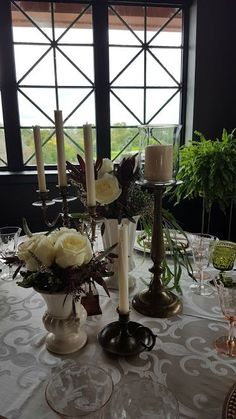 #VintageBrass Vintage Ivory Ceramic and Patinated Brass bring elegance to this Old World style table scape! Vintage glassware and silverware lend character and classic floral arrangements add a rich finish to this romantic decor! Positively Charmed Minneapolis St Paul Wedding Decor Rentals: