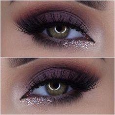 purple smokey GLAM makeup look: prefect for green and blue eyes