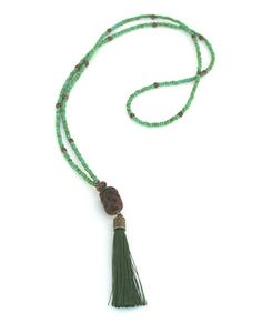 Bohemian long green tassel necklace - carved red jade pendant with dark green tassel - turquoise seed beaded necklace - Rustic necklace