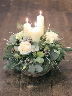 Candle & Flower arrangement ~ Winter Whites