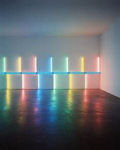 DAN FLAVIN, INSTALLATION AT RICHMOND HALL MENIL COLLECTION 1996: flavin passed away a couple days before completing the installation and his studio finished the work.