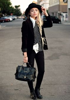 Black and White Casual with Polka Dots