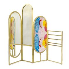 This multipurpose hand-made room divider is useful in many ways, featuring a round oval shaped mirror on one panel and horizontal rows of brass rods on. Milan Furniture, Cool Furniture, Furniture Projects, Furniture Design, Decoration, Art Decor, Mirror Room Divider, Fabric Room Dividers, Decorative Screens