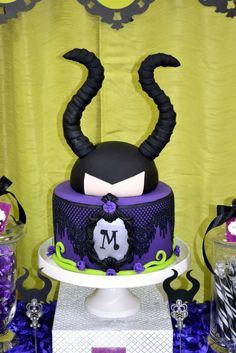 Incredible cake at a Maleficent birthday party! See more party ideas at CatchMyParty.com!