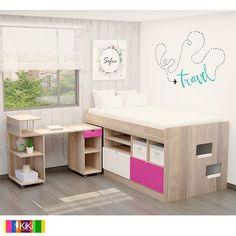 Loft Beds For Small Rooms, Cool Room Designs, Uni Room, Kids Room, Girls Bedroom Furniture, Cool Bunk Beds, Bedroom Closet Design, Rainbow Room, Cabinet Design