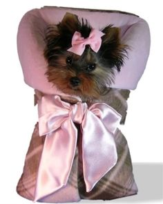 Pink And Brown Plaid Snuggle Sack With Pink Lining And Oversized Pink Satin Bow                                                                                                                                            ~DoggyStyle'N~