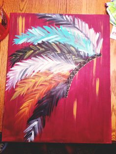 Indian Headdress abstract acrylic by CassidysGallery on Etsy