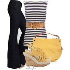 Navy Stripes with a Pop of Yellow, created by styleofe on Polyvore