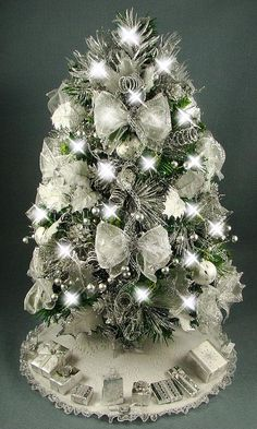 decorated mini tabletop christmas tree silver and white 20 inches 50 clear lights tree skirt matching presents - Tabletop Christmas Trees With Lights