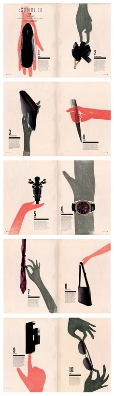 These spreads are a credit to Esquire Malaysia and their art director Rebecca Chew! I'm really impressed with this clever combination of considered typography, screen printing and collage. It sounds like quite a mishmash - but they work together very elegantly to fall very in line with the brand personality - awesome!