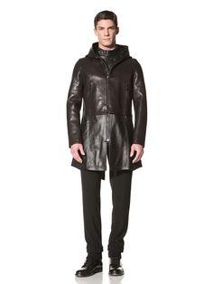 60% OFF Emporio Armani Men\'s Leather Coat (Black/brown)