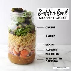 Mason Jar Lunch, Mason Jar Meals, Meals In A Jar, Mason Jars, Mason Jar Recipes, Pot Mason, Salad Dressing Recipes, Salad Recipes, Juicer Recipes