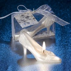 2018 New Romantic Marriage Proposal Express Gift Wedding Candle Confession Cinderella  Crystal Shoes for Girlfriend Candles c48860cee4fb
