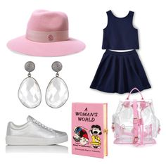 """""""navy pink"""" by memowitta on Polyvore featuring Prada Sport, Maison Michel and Olympia Le-Tan"""