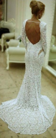 Long sleeves low back lace long wedding dresses