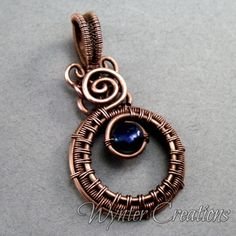 Sadie Victorian Inspired Wire Work Copper Pendant with Cobalt Pearl | WynterCreations