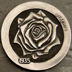Steve Cox - A Rose. Us Coins, Rare Coins, Stone Carving, Wood Carving, Pewter Art, Dremel Carving, Hobo Nickel, Coin Art, Metal Clay Jewelry