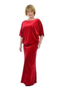 Rochie rosie din catifea R082R-M -  Ama Fashion