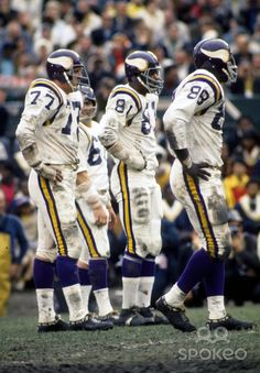 Minnesota Vikings defensive tackle Gary Larsen (77), defensive end Carl Eller (81), and defensive tackle Alan Page (88) on the field against the Kansas City Chiefs during Super Bowl IV at Tulane Stadium. The Chiefs defeated the Vikings 23-7.