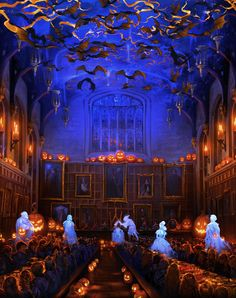 The Hallowe'en Feast at Hogwarts School of Witchcraft and Wizardry occurs on 31 October every year. It is festooned with candy-filled pumpkins, apples, black cauldrons of big lollipops, carrot cake, bats, orange streamers, goblets of colored candy, possibly pumpkin juice and all sorts of Hallowe'en-related decorations. There is always some entertainment at the end, this may be by the Hogwarts Ghosts who pop out of the walls and do formation gliding. It's a highly anticipated feast which…
