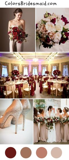 Champagne and burgundy wedding color palette for fall 2018