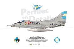 Douglas A-4 Q Skyhawk  Matrícula ARA 0658/3-A-305 (BuAer 144929) 3º Escuadrilla Aeronaval de Caza y Ataque Mayo 1982 Delta Wing, Douglas Aircraft, Falklands War, War Thunder, Color Profile, Jet Engine, Armada, United States Navy, Aviation Art