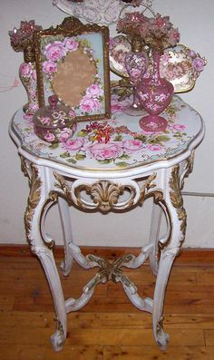 Image detail for -gorgeous antique hand painted french side table i have painted a ...