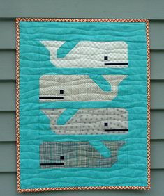 """https://flic.kr/p/t7GSzo   Preppy the Whale Mini Quilt   Thar She Blows!  Preppy the Whale mini quilt.    Blogged about at www.alidiza.com  Quilt Stats: Finished quilt is 20"""" x 26"""" Pattern: Preppy the Whale by the fabulous Elizabeth Hartman of Oh, Fransson! Fabrics: Kona Nautical, Just Color by Studio E, Sunkissed by Sweetwater, Little Apples by Aneela Hoey, Foxfield by Tula Pink, and Textures by Angela Walters. Binding: DS Quilts. Backing: Riley Blake Multi Houndstooth..."""