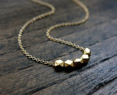 Tiny Gold Nugget Bead Necklace / Simple Gold Necklace / Minimalist Jewelry