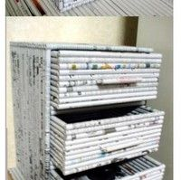 made from rolled newspapers!
