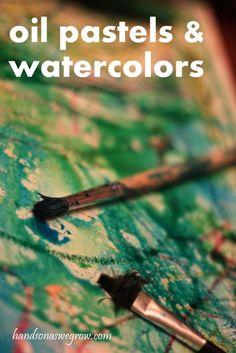 Canvas Art: Oil Pastel Resist Watercolors