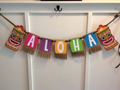 "Tiki Style Luau Banner ""ALOHA"" - Birthday Parties, Shower, Celebrations"