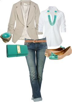 love the turquoise and the nude blazer