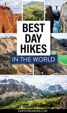 Best hikes in the world. 20 day hikes for your bucket list: Kjeragbolten, Trolltunga, Half Dome, Angels Landing, the Zion Narrows, Great Wall of China, Tongariro, Dolomites, Fimmvorduhals, Landmannalaugar, and more. #hiking #adventuretravel #travelideas