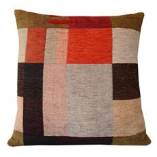 Wallace Sewell cushion in cotton chenille double-cloth woven in a patchwork style