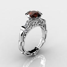 bdcb7d60892 Art Masters Caravaggio 14K White Gold 1.0 Ct Brown and White Diamond  Engagement Ring R623-14KWGDBRD-1