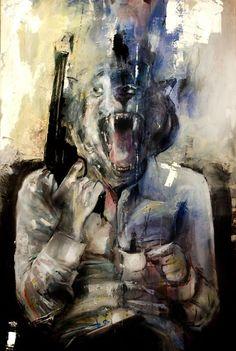 """Breakfast At The Arabica Coffeeshop"" - Acrylic on canvas - 120cm x 80cm - Benjamin García"